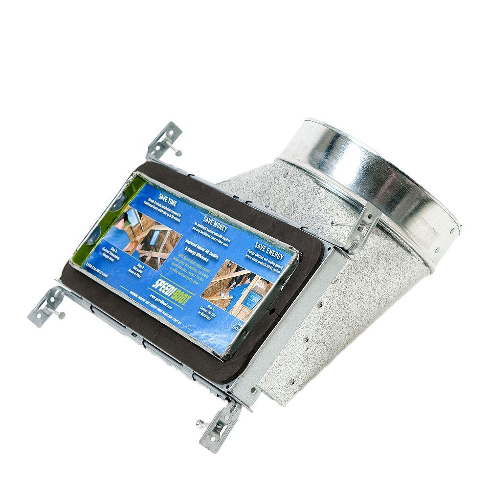 Speedi-Boot Bouche d'aération avec registre à 90 degrés et fixations réglables pour conduit de CVCA 4 po x 12 po x 6 po