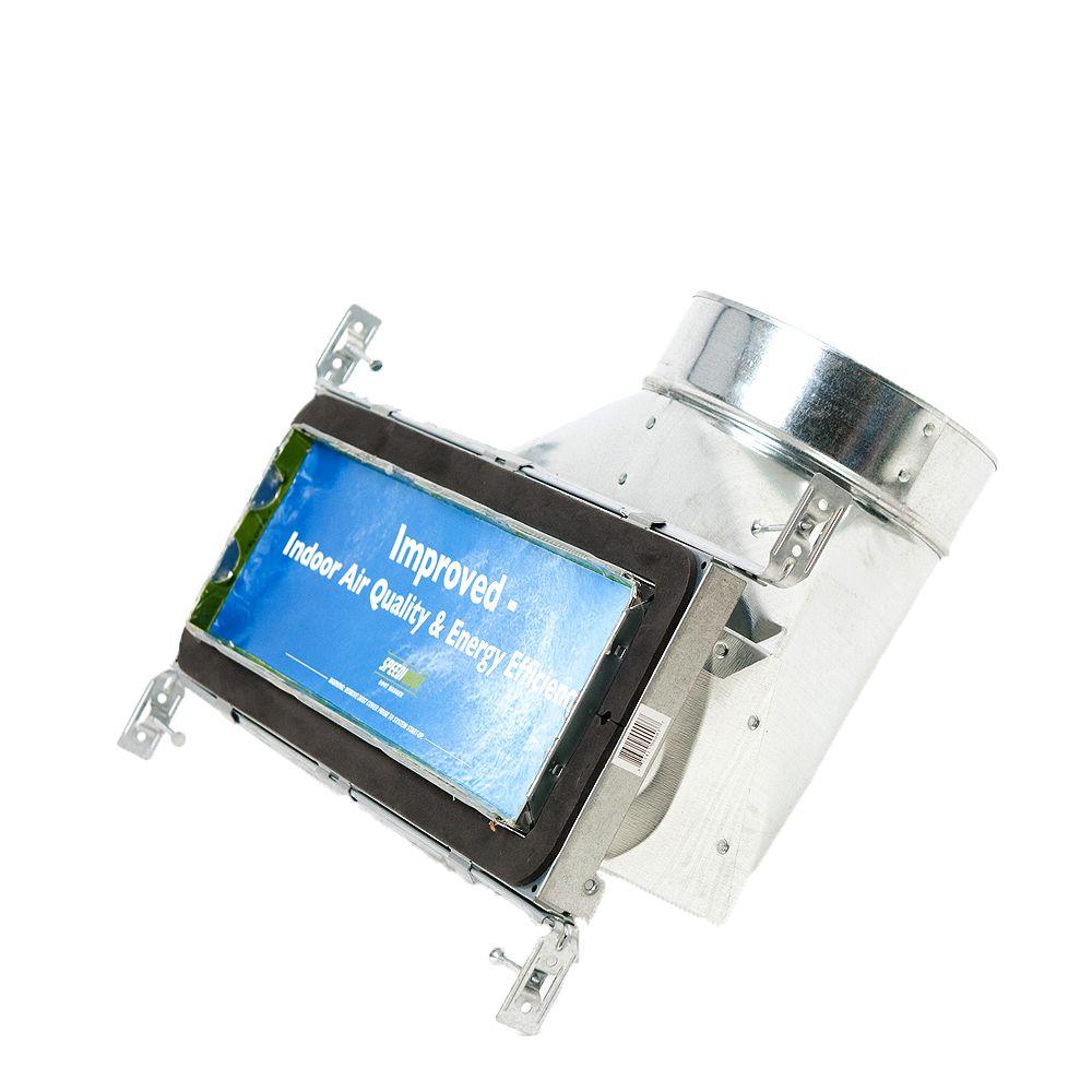 Speedi-Boot Bouche d'aération avec registre à 90 degrés et fixations réglables pour conduit de CVCA 4 po x 14 po x 8 po