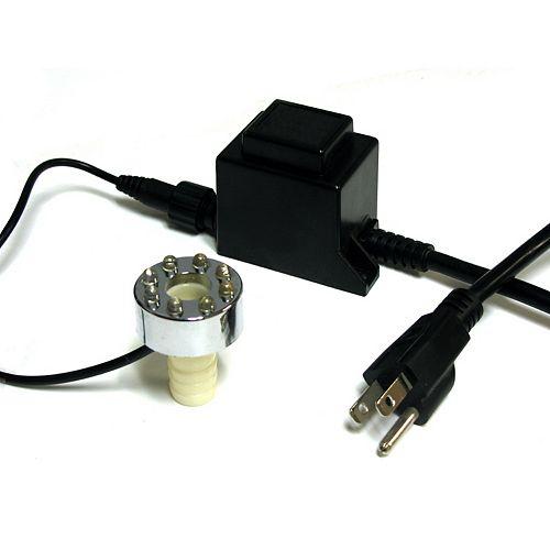 Anneau 8 lumières DEL pour fontaine et bassin, métal plaqué, blanc froid, transformateur bas voltage