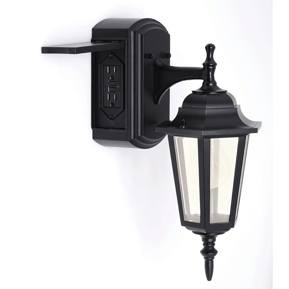 Hampton Bay Hampton Bay Coach Style Reversible Exterior Wall Lantern With Built-in Electrical Outlet (GFCI)