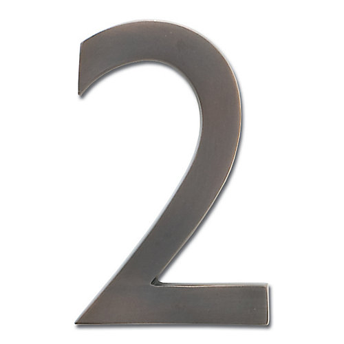 "Solid Cast Brass 5 inch Floating House Number Dark Aged Copper ""2"""