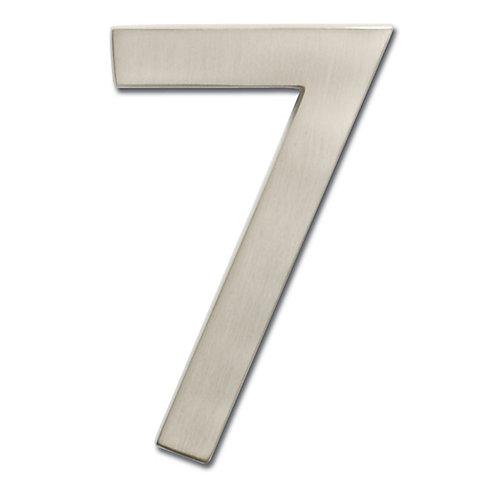 Chiffre de numéro de maison flottant, 5 pouces, en laiton fondu massif à fini nickel satin, «7»