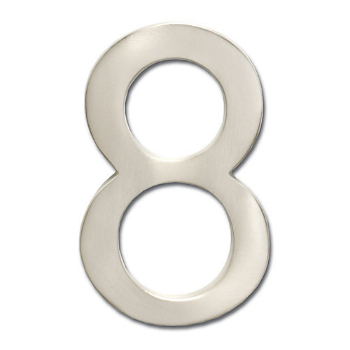 "Solid Cast Brass 5 inch Floating House Number Satin Nickel ""8"""
