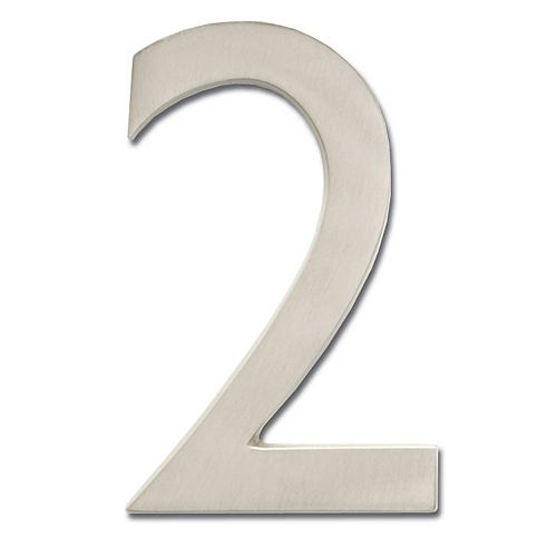 """Solid Cast Brass 5 inch Floating House Number Satin Nickel """"2"""""""