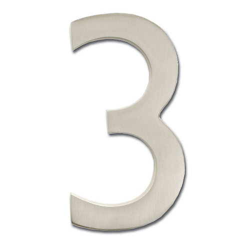 "Solid Cast Brass 5 inch Floating House Number Satin Nickel ""3"""