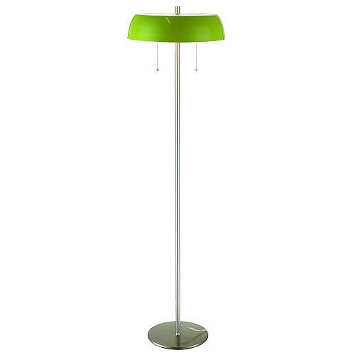 Caroussel, Lampe De Plancher, Au Fini Acier Brossé, Abat-Jour Vert Absinthe