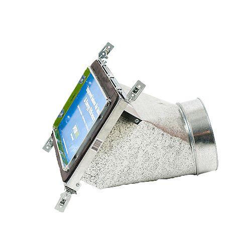 Bouche d'aération avec registre à 45 degrés et fixations réglables pour conduit de CVCA 6 po x 12 po x 8 po