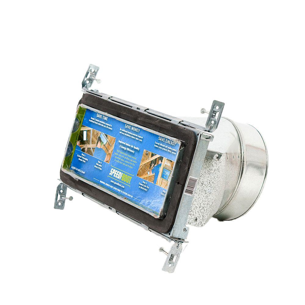 Speedi-Boot Bouche d'aération droite à registre avec fixations réglables pour conduit de CVCA 4 po x 12 po x 8 po