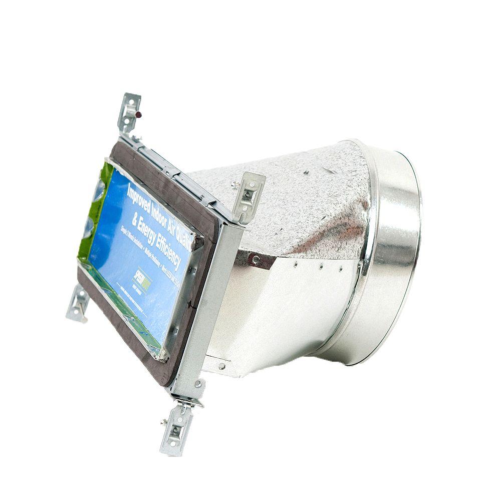 Speedi-Boot Bouche d'aération droite à registre avec fixations réglables pour conduit de CVCA 4 po x 14 po x 8 po