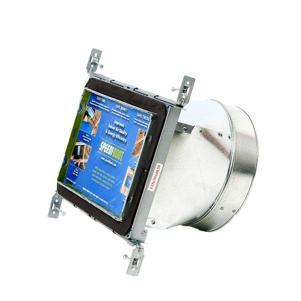 Speedi-Boot Bouche d'aération droite à registre avec fixations réglables pour conduit de CVCA 6 po x 10 po x 6 po
