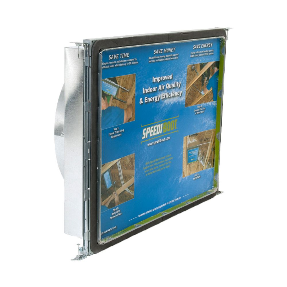 Speedi-Boot 16 in. x 20 in. x 12 in. Square to Round Adaptor Register Vent Boot with Adj. Hangers for HVAC Duct Work