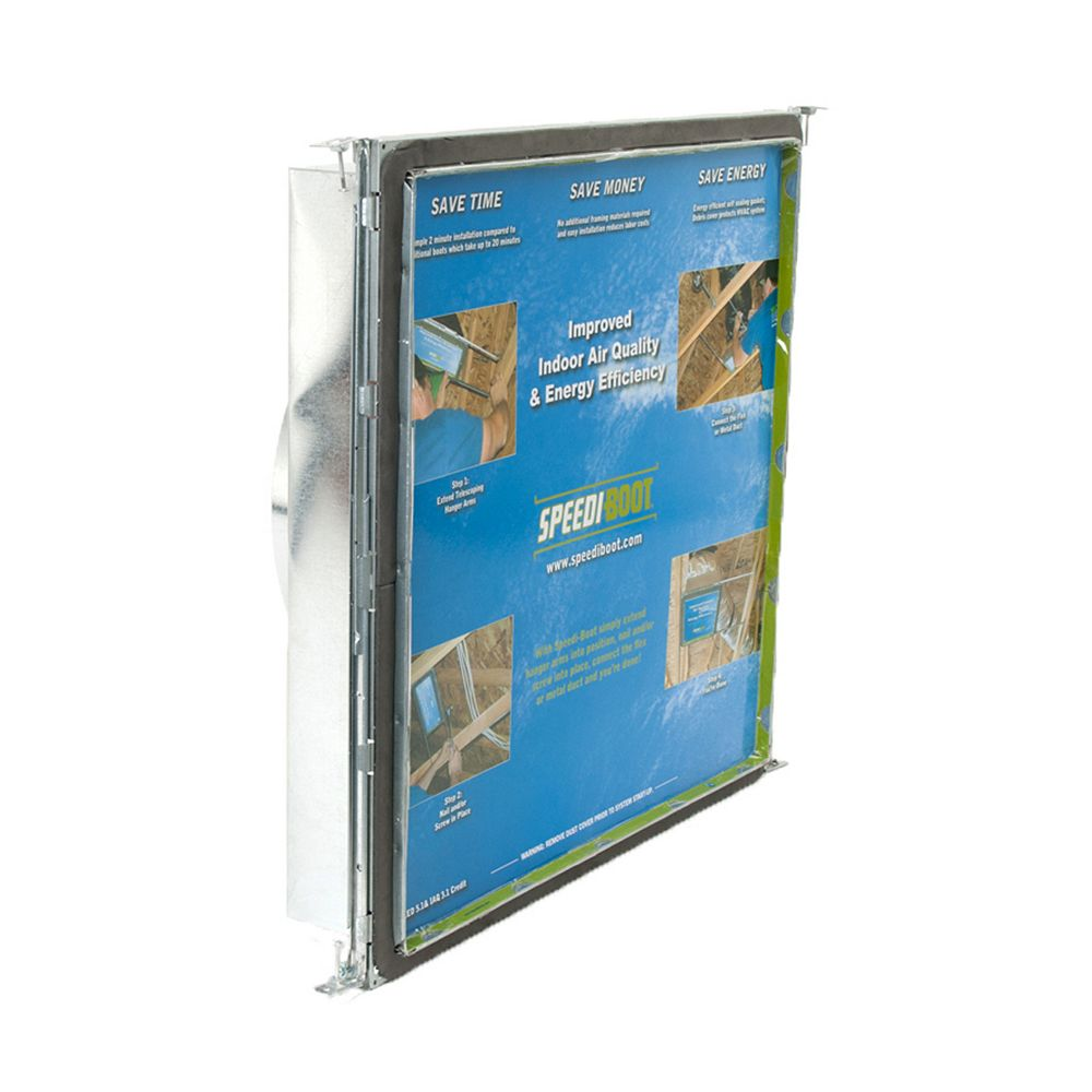 Speedi-Boot 20 in. x 20 in. x 14 in. Square to Round Adaptor Register Vent Boot with Adj. Hangers for HVAC Duct Work