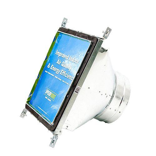 Bouche d'aération carrée à ronde à registre avec fixations réglables pour conduit de CVCA 12 po x 12 po x 8 po