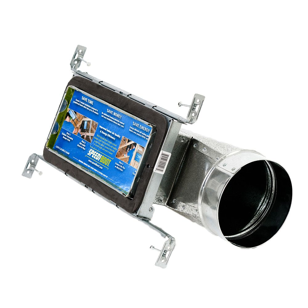 Speedi-Boot 4 in. x 10 in. x 6 in. Torpedo End Register Vent Boot with Adj. Hangers for HVAC Duct Work