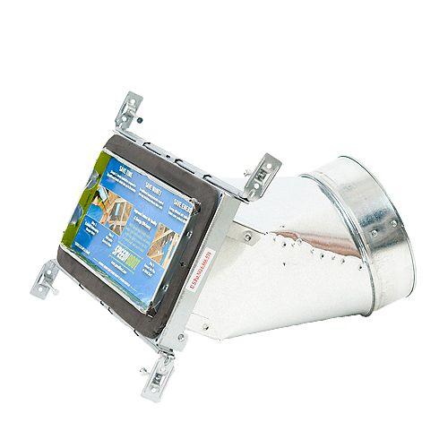 Speedi-Boot Bouche d'aération avec registre à 45 degrés et fixations réglables pour conduit de CVCA 4 po x 10 po x 6 po