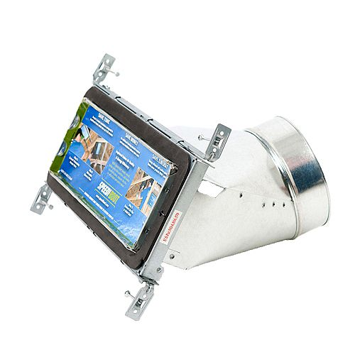 Speedi-Boot Bouche d'aération avec registre à 45 degrés et fixations réglables pour conduit de CVCA 4 po x 12 po x 6 po