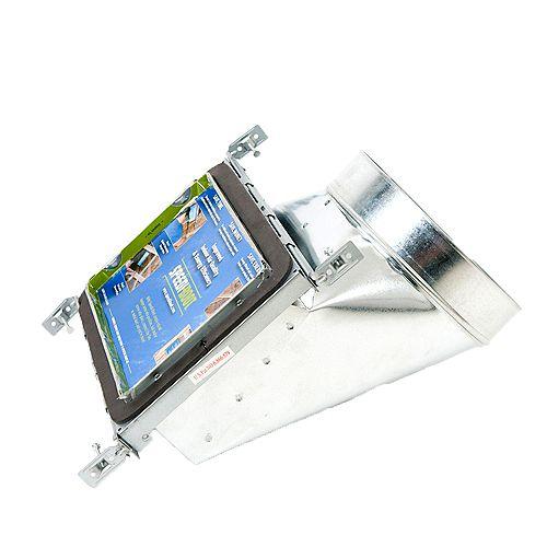 Bouche d'aération avec registre à 90 degrés et fixations réglables pour conduit de CVCA 6 po x 10 po x 8 po