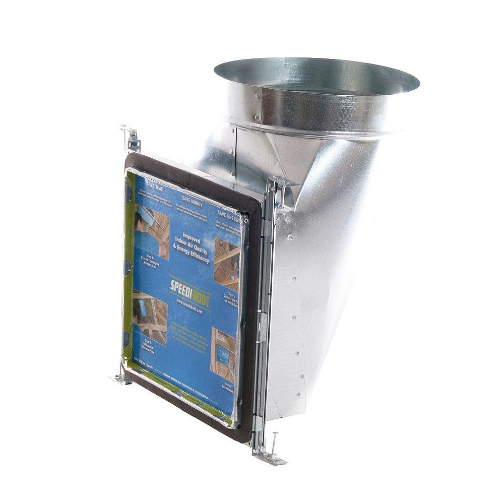 Speedi-Boot Bouche d'aération avec registre à 90 degrés et fixations réglables pour conduit de CVCA 8 po x 8 po x 6 po