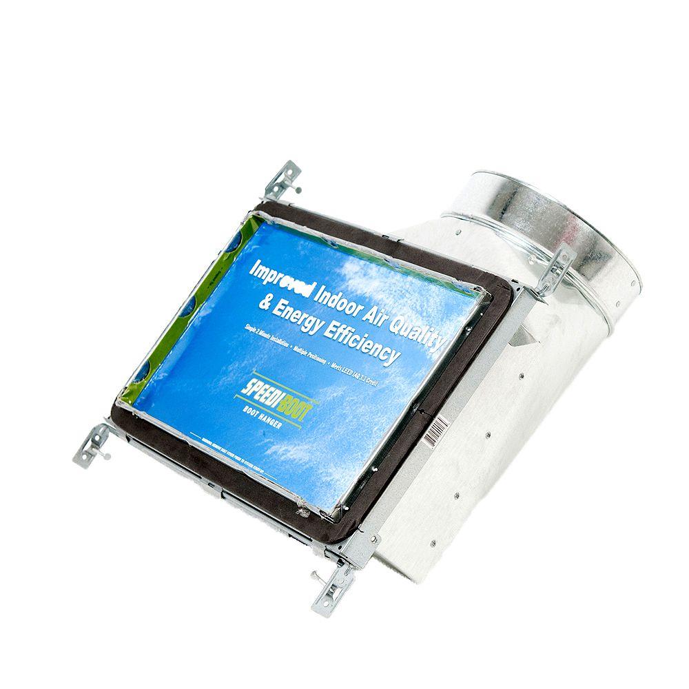 Speedi-Boot Bouche d'aération avec registre à 90 degrés et fixations réglables pour conduit de CVCA 8 po x 14 po x 6 po