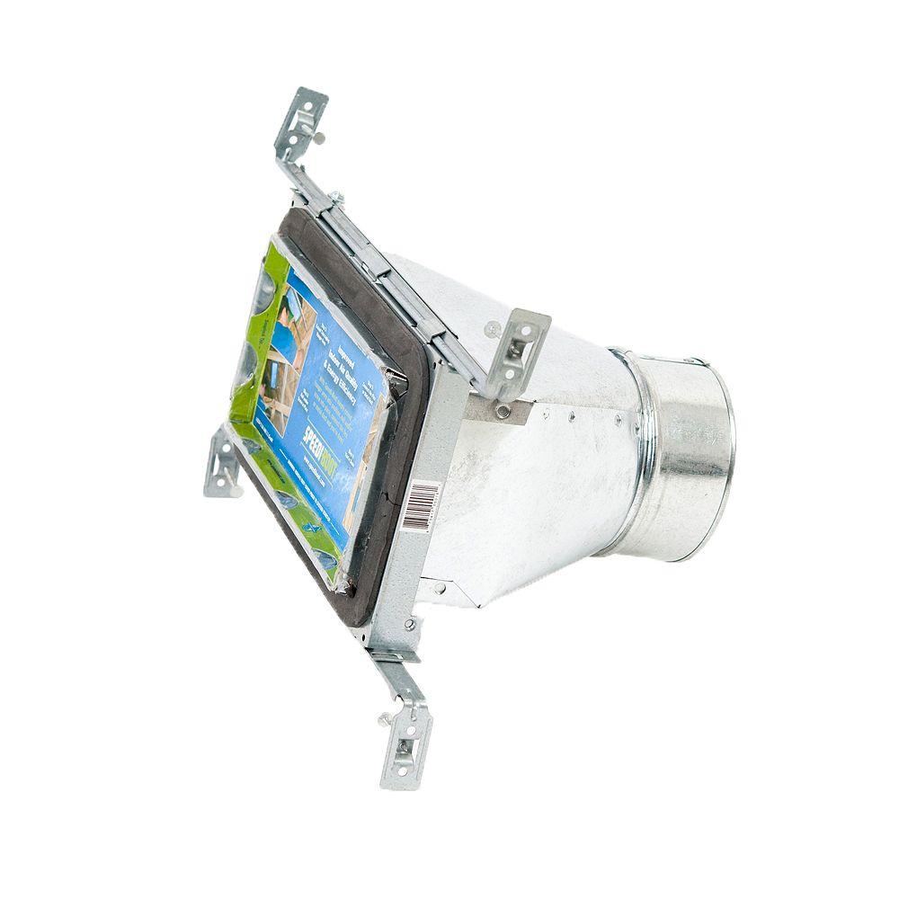 Speedi-Boot Bouche d'aération droite à registre avec fixations réglables pour conduit de CVCA 4 po x 8 po x 5 po