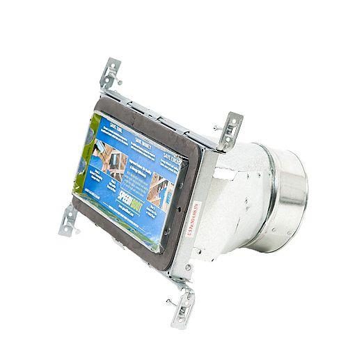 Bouche d'aération droite à registre avec fixations réglables pour conduit de CVCA 4 po x 10 po x 6 po