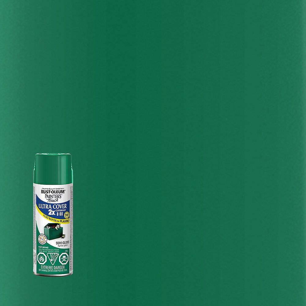 Rust-Oleum Painter's Touch 2X Ultra Cover Multi-Purpose Paint And Primer in Semi-Gloss Hunter Green, 340 G Aerosol Spray Paint