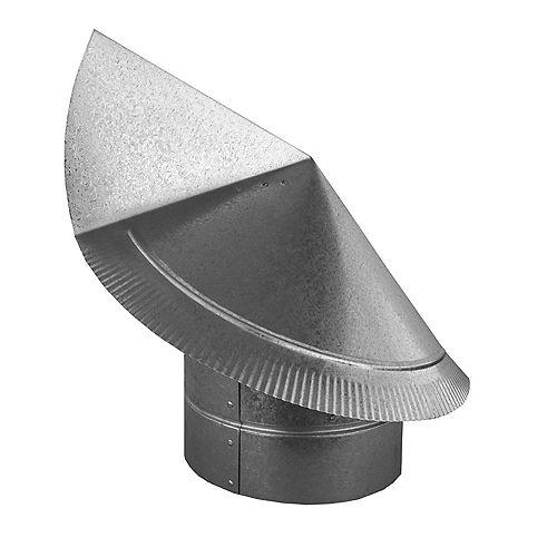 Chapeau rond de cheminée directionnel antibourrasque 12 po