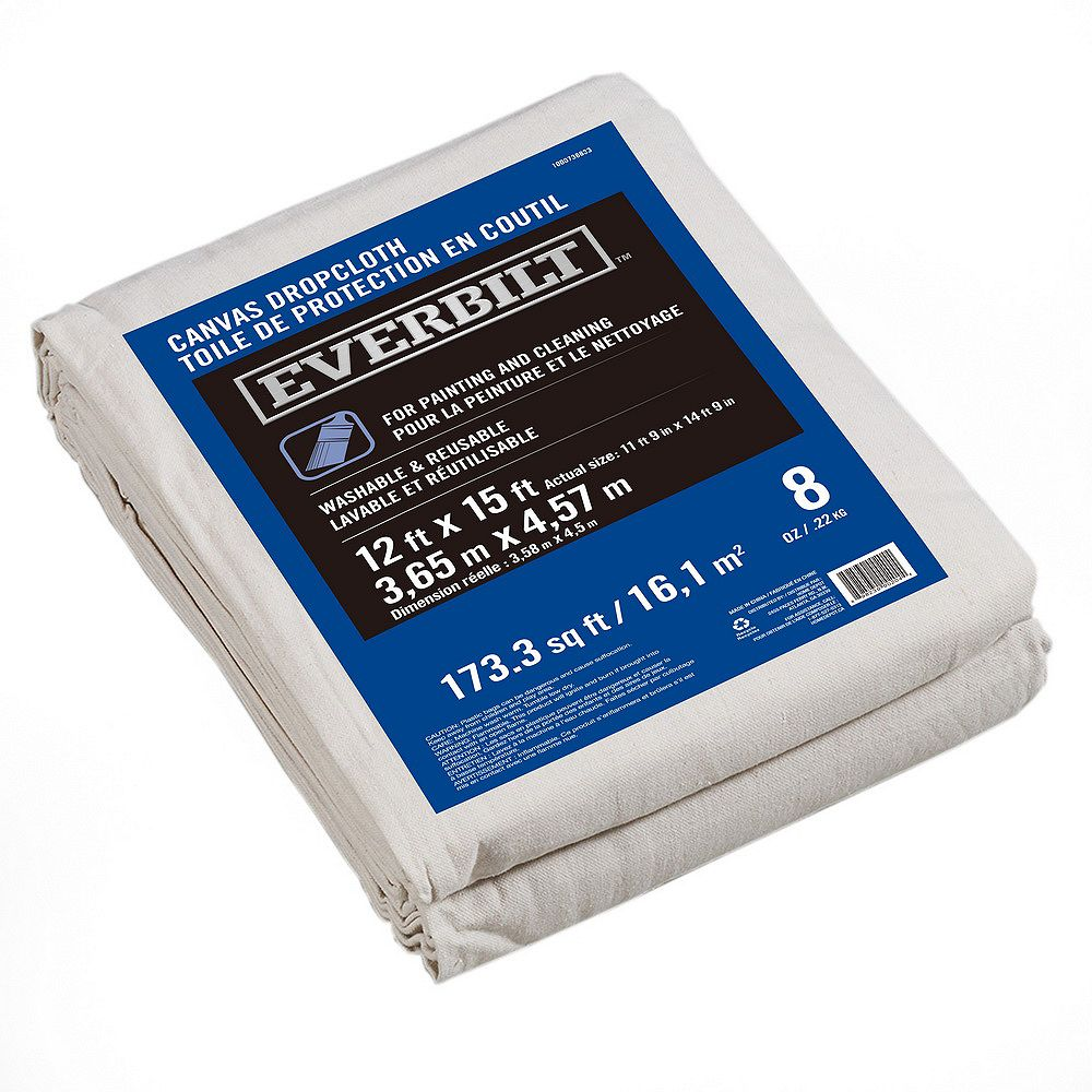 Everbilt 12 ft. x 15 ft. 227g Canvas Drop Cloth
