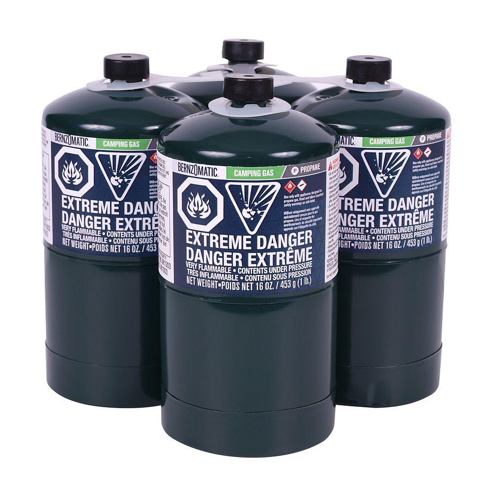 Bernzomatic Bouteille de gaz propane pour le camping, 16,4 oz, ens. de 4