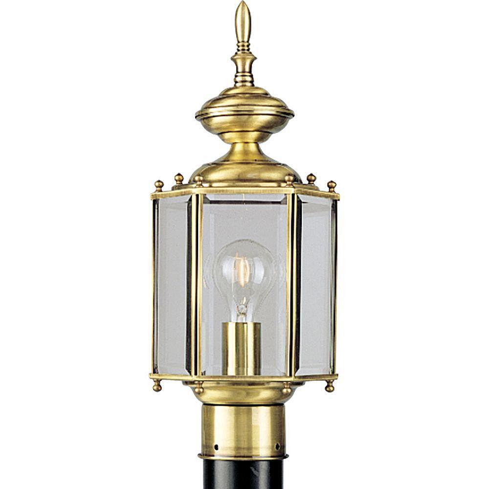 Progress Lighting Brass Guard Collection 1-Light Polished Brass Outdoor Post Lantern