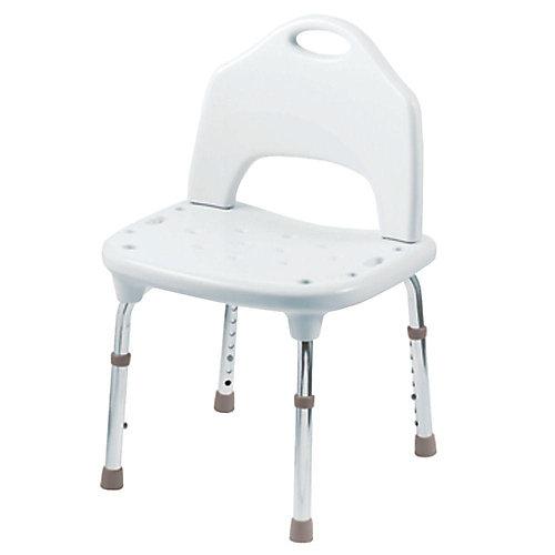 Chaise de douche réglable, plastique, blanc