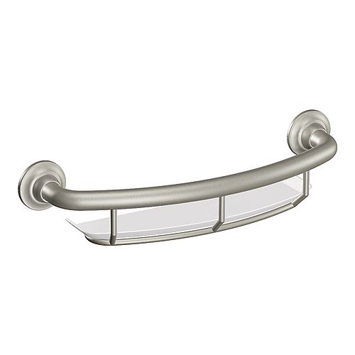16-inch x 1.0-inch Grab Bar with Integrated Shelf in Brushed Nickel (ADA Compliant)