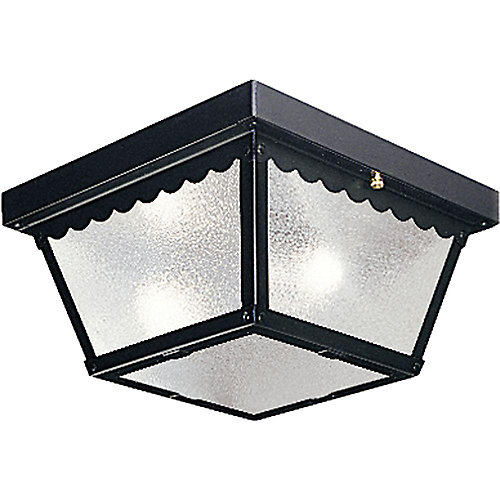 Black 2-light Outdoor Flush mount