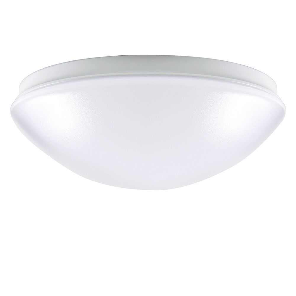 Commercial Electric Low-Profile Round Puff Integrated LED Flushmount Light Fixture in White - ENERGY STAR®