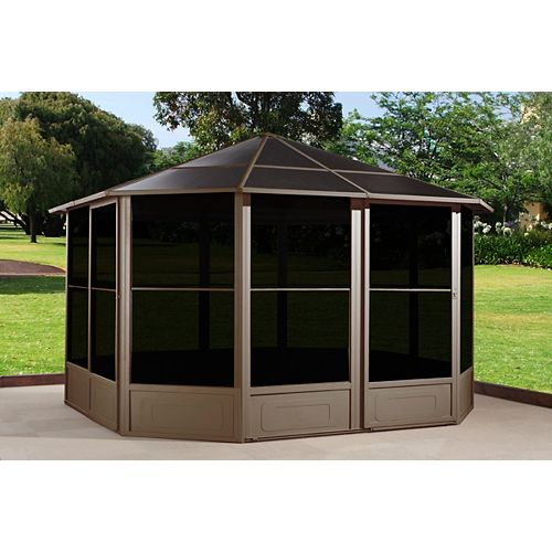 Korado 12 ft. x 12 ft. Octogonal Solarium with 2 Sliding Doors in Caramel