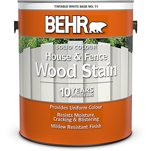 Solid Colour House & Fence Wood Stain - Tintable White No. 11, 3.79 L