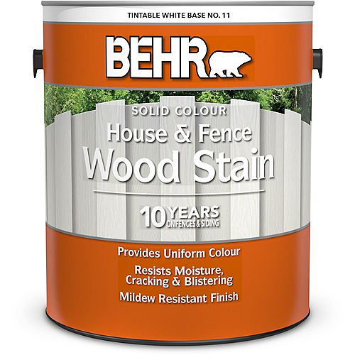 House & Fence Solid Colour Wood Stain - Tintable White No. 11, 3.79L