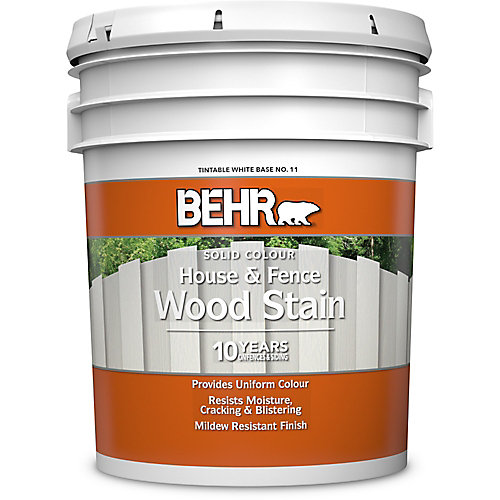 Solid Colour House & Fence Wood Stain - Tintable White No. 11, 18.9 L