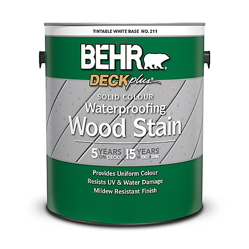 DECKplus Solid Colour Waterproofing Wood Stain - Tintable White No. 211, 3.79 L