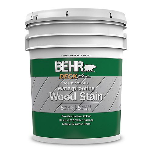 Solid Colour Waterproofing Wood Stain - Tintable White No. 211, 18,9 L