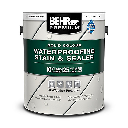 Premium Solid Colour Weatherproofing Stain & Sealer in Tintable White No. 5011, 3.79 L