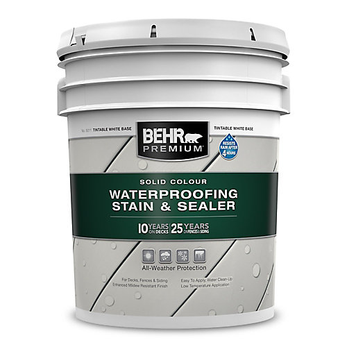 PREMIUM Solid Colour Weatherproofing Stain & Sealer - Tintable White No. 5011, 18.9 L