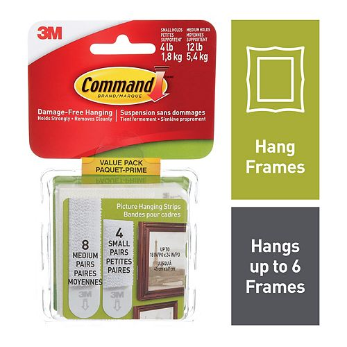Small and Medium Picture Hanging Strips, 17203C, white