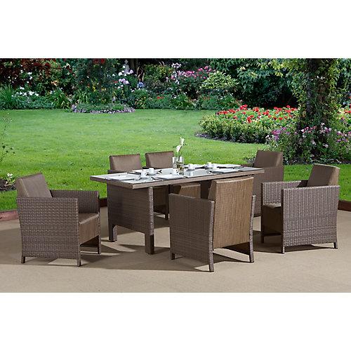 """COSA Ensemble à diner- 6 fauteuils avec table à diner 36"""" x 71"""", rotin et textilene"""