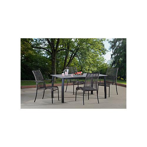 """ZILIO Ensemble à diner brun-avec 4 chaises et une table de 34"""" x 63"""""""