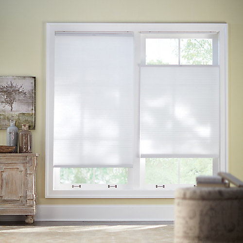 Snow Drift 9/16-inch Top-Down Bottom-Up Cordless Light Filtering Fabric Cellular Shade - 72-inch W x 72-inch L