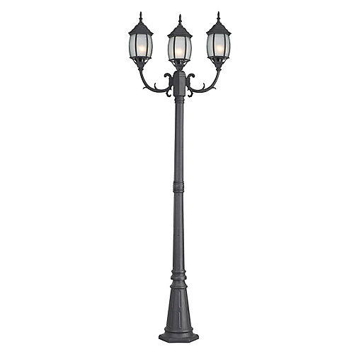 Hayden 3-Light Post Light in Black with Frosted Glass