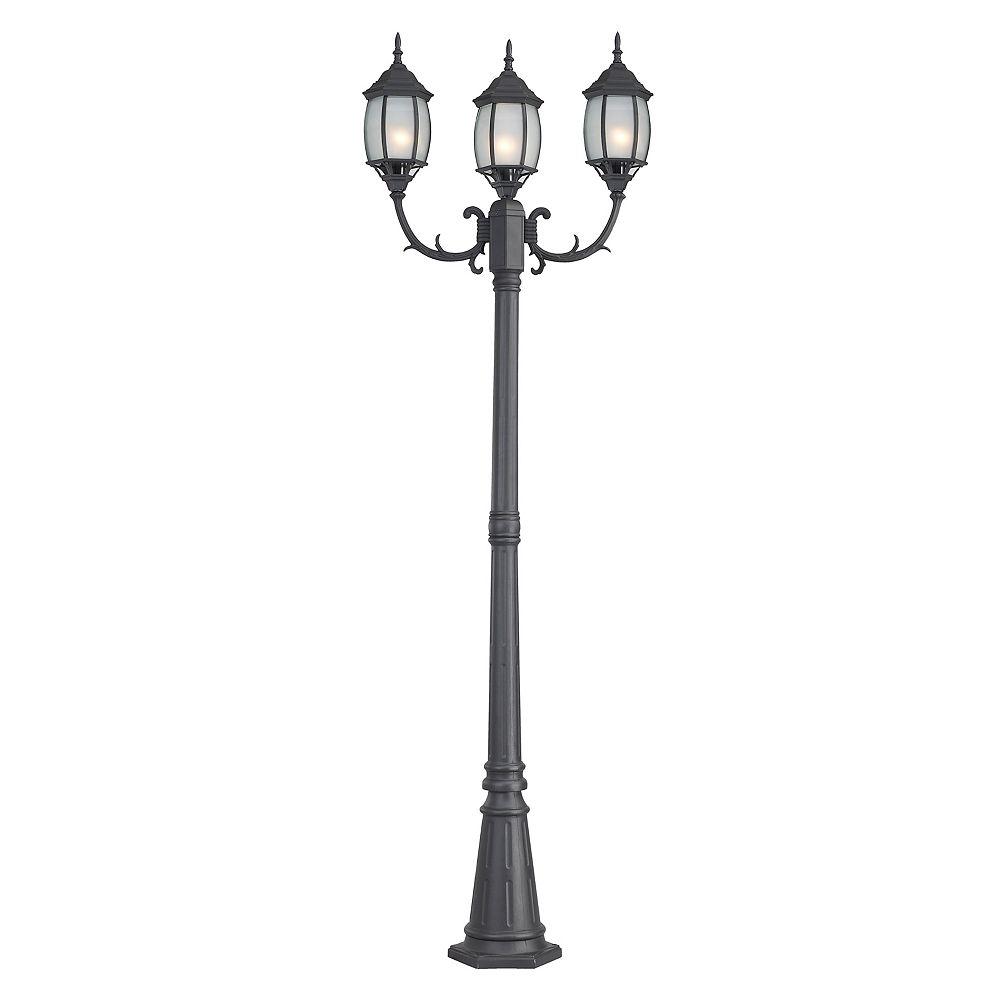 Canarm HAYDEN : Lumière de poteau noire a 3 lumières, verre givré