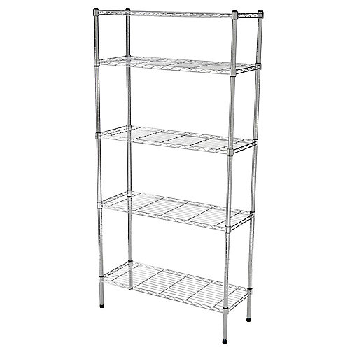 36-inch W 5-Tier Heavy Duty  Shelving Unit in Chrome