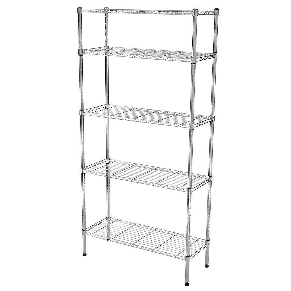 Hdx 36 Inch W 5 Tier Heavy Duty Shelving Unit In Chrome The Home Depot Canada